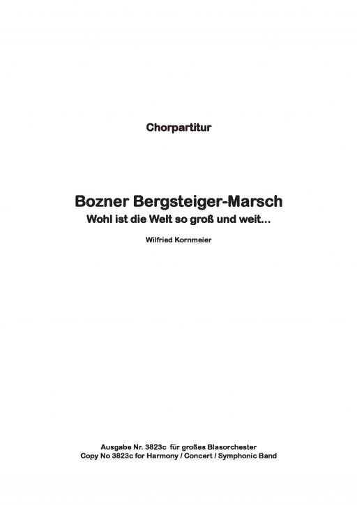 Bozner Bergsteiger Marsch - CHORSATZ für MÄNNERCHOR