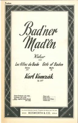 Badner Madln (Bad'ner Mad'ln) - LAGERABVERKAUF